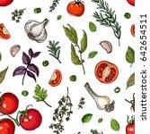 pattern herbs. spices. italian... | Shutterstock .eps vector #642654511