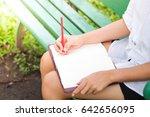 beautiful woman reading a book... | Shutterstock . vector #642656095