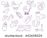 Toys for children background new-born diapers doodle art. carriage, baby's dummy, diaper, toys, vial, sock, legs. Vector illustration