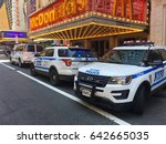 Small photo of New York City - May 2017: Times Square car accident kills and injures pedestrians breaking news scene in Manhattan. NYPD patrol cars respond to crime scene deadly accident. driver arrest possible DWI