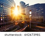 modern buildings in paris... | Shutterstock . vector #642673981