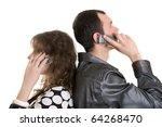 boy and girl talking by cell phone - stock photo