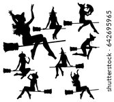 Vector Silhouettes Of Flying...