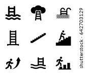 set of 9 ladder filled icons...   Shutterstock .eps vector #642703129