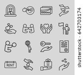 set of 16 holding outline icons ... | Shutterstock .eps vector #642703174