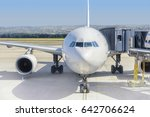 airplane ready for boarding in... | Shutterstock . vector #642706624