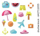 travel and holiday flat icons.... | Shutterstock .eps vector #642711055