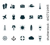 travel and holiday flat icons.... | Shutterstock .eps vector #642711445