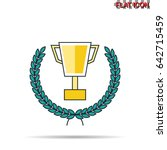 trophy cup with laurel wreath...