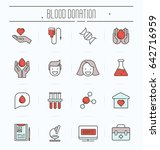 set of thin line icons of blood ... | Shutterstock .eps vector #642716959