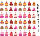 cakes seamless pattern.... | Shutterstock .eps vector #642725785