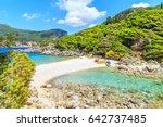 view of a limni beach in corfu  ... | Shutterstock . vector #642737485
