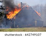 Burning Wooden House. Burning...