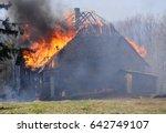 Burning Wooden House. Burning...