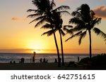 romantic sunset at poipu beach... | Shutterstock . vector #642751615