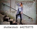 fashionable woman look with...   Shutterstock . vector #642753775