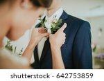 wedding flowers on the jacket...   Shutterstock . vector #642753859