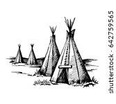 native american wigwam ... | Shutterstock .eps vector #642759565