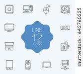 set of 12 computer outline... | Shutterstock .eps vector #642760225
