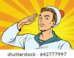 beautiful sailor salutes  the... | Shutterstock .eps vector #642777997