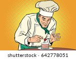 the chef prepares a sweet... | Shutterstock .eps vector #642778051