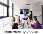 boss dresed as teddy bear... | Shutterstock . vector #642779281