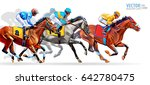 five racing horses competing... | Shutterstock .eps vector #642780475