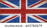 uk flag painted on old wooden... | Shutterstock .eps vector #642783679
