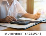 businessman at desk using... | Shutterstock . vector #642819145