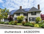 two story stucco house with... | Shutterstock . vector #642820594