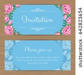 floral invitation or greeting... | Shutterstock .eps vector #642823654
