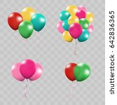 3d realistic colorful bunch of... | Shutterstock .eps vector #642836365