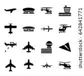 aviation icons set. set of 16... | Shutterstock .eps vector #642841771