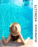 women relaxing near luxury... | Shutterstock . vector #642861175