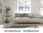 white room with sofa and winter ... | Shutterstock . vector #642866164