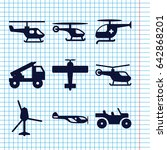 set of 9 helicopter filled... | Shutterstock .eps vector #642868201