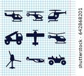 set of 9 helicopter filled... | Shutterstock .eps vector #642868201