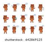 set of cartoon teddy bear... | Shutterstock .eps vector #642869125