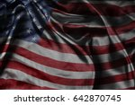 closeup of silky american flag  | Shutterstock . vector #642870745