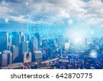 double exposure of cityscape... | Shutterstock . vector #642870775