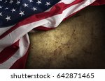 american flag on brown... | Shutterstock . vector #642871465