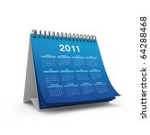 Desktop calendar for 2011 year isolated on white background - stock photo