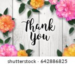 thank you with colorful flower... | Shutterstock . vector #642886825