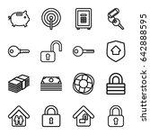 safe icons set. set of 16 safe...   Shutterstock .eps vector #642888595