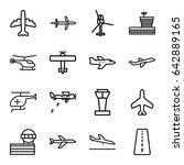 aviation icons set. set of 16...   Shutterstock .eps vector #642889165