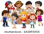 many kids learning math in...   Shutterstock .eps vector #642893455