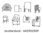 armchairs doodle style... | Shutterstock .eps vector #642902509