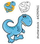 Funny and Friendly Blue Tyrannosaurus walking - stock vector