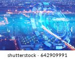 double exposure of cityscape... | Shutterstock . vector #642909991