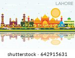 lahore skyline with color... | Shutterstock . vector #642915631